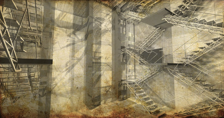 perspective. Modern industrial interior, stairs, clean space in