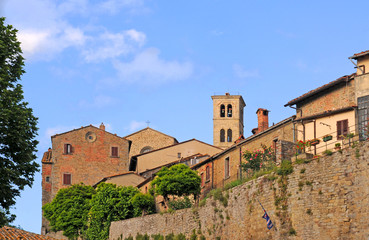 City wall and skyline of Cortona, Tuscany, Italy