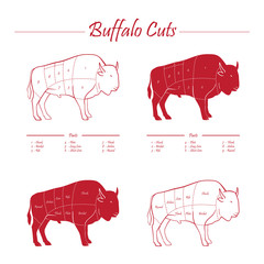 BUFFALO MEAT CUTS SCHEME - elements on red on white