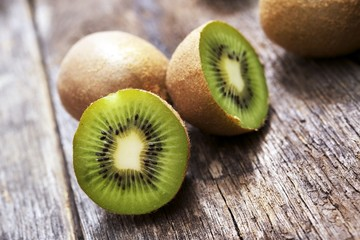 Organic Kiwis on Wood