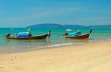 Traditional longtail boats on the Ao Nang beach