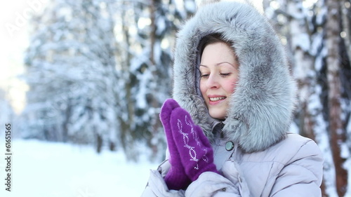 Young woman winter outdoors portrait.