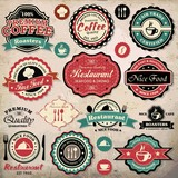 Collection of coffee and restaurant labels, badges and icons