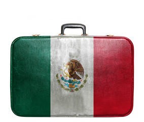 Vintage travel bag with flag of Mexico