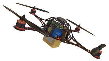 Quadrocopter with plastic container