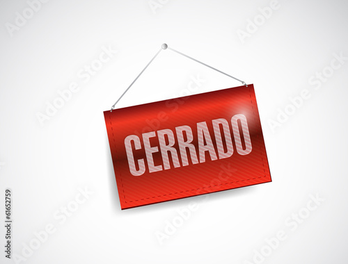 closed spanish sign illustration design