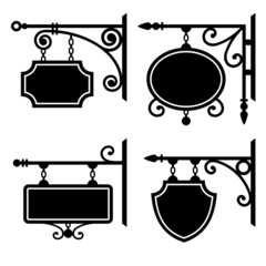 Set of retro graphic forged signboards