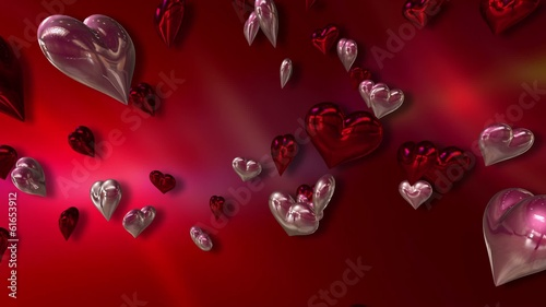 Luscious Red and Pink Love Hearts on a Abstract Red Background