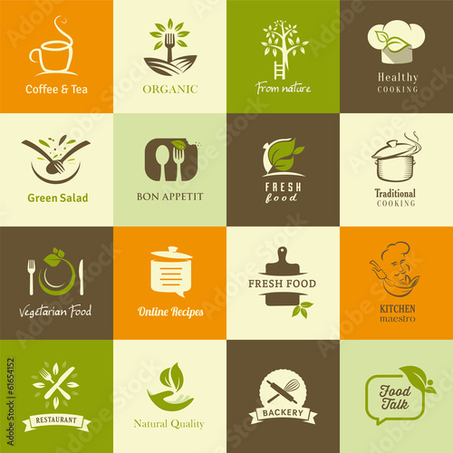 Set of icons for organic and vegetarian food