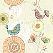 seamless pattern with fantasy flowers and birds