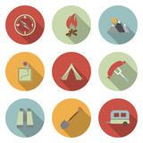 Camping flat vector icons set