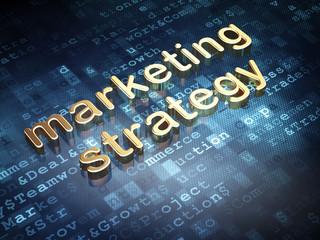 Advertising concept: Golden Marketing Strategy on digital