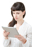 female using tablet