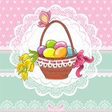 Easter vintage card with basket and eggs