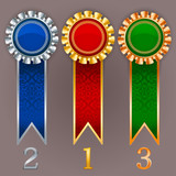Vector champion medals. Set of gold, silver and bronze badges wi