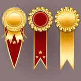 Vector champion medals. Set of gold and red badges with ribbons.