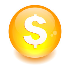 bouton internet argent finance icon orange