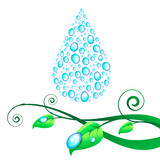 Vector illustration with one big water drop, consisting of small