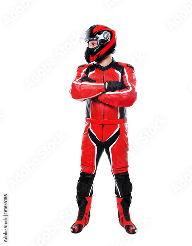 motorcyclist on white background lookingto the side