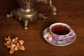 samovar and a cup with tea