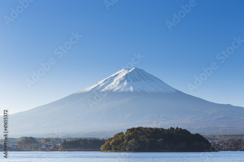 Mt. Fuji with lake. Kawaguchi-ko. Yamanashi. Japan - 61655372