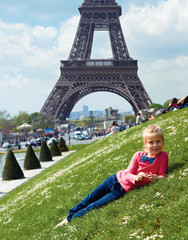 tourist near the Eiffel Tower in Paris