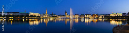 canvas print picture Hamburg Binnenalster At Night
