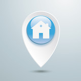Location Marker House Blue Button