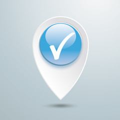 Location Marker Check Blue Button
