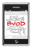 BYOD Word Cloud Concept on Touchscreen Phone