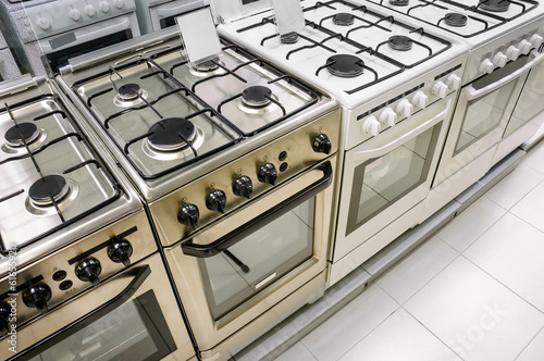home appliance  store, row of gas stoves