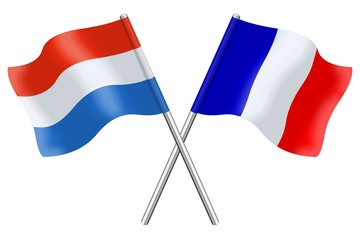 Drapeaux: duo France Luxembourg