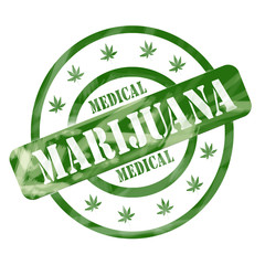 Green Weathered Medical Marijuana Stamp Circles and Stars