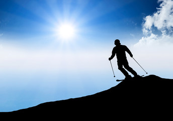 Silhouette of skier. Sport and active life concept
