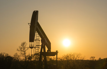Texas Oil Well Against Setting Sun