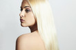 Beautiful Woman with Shiny Hair. Beauty Sexy Blond Girl