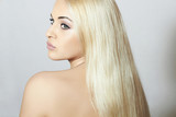 Beautiful Woman with Magnificent Hair. Beauty Sexy Blond Girl