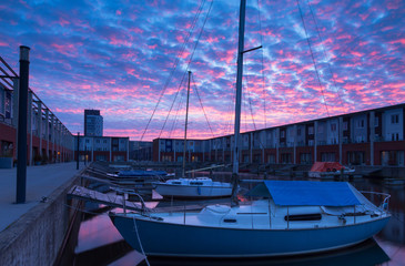 Urban marina sunrise