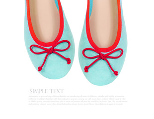 mint summer flat shoes isolated on white background