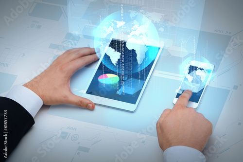 businessman working with table pc and smartphone