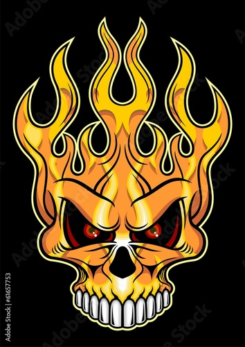red flaming skull