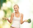 woman with broccoli and hamburger