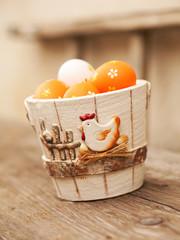 Easter eggs in  flower pot