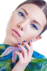 Beautiful woman with stylish colorful make up