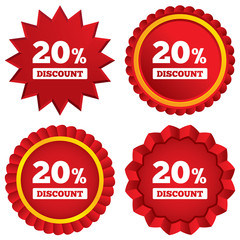 20 percent discount sign icon. Sale symbol.