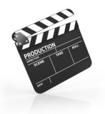 Blank black film clapper board, isolated on white background.