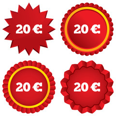 20 Euro sign icon. EUR currency symbol.