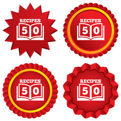 Cookbook sign icon. 50 Recipes book symbol.
