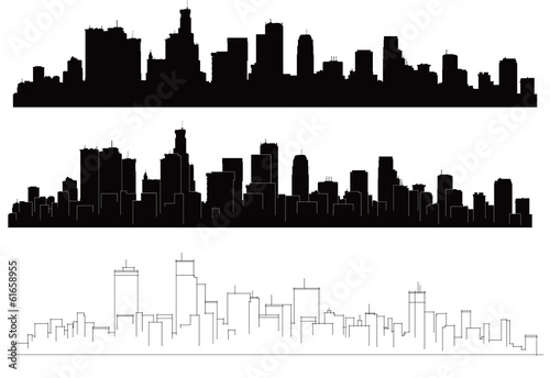 Fototapeta Vector cities silhouettes.