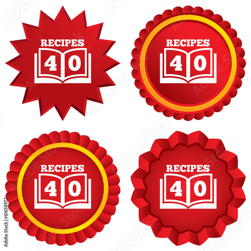 Cookbook sign icon. 40 Recipes book symbol.